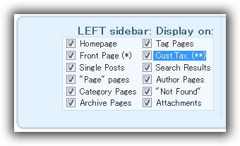 Sidebars & Widgets / Style & configure SIDEBARS / LEFT sidebar: Display on