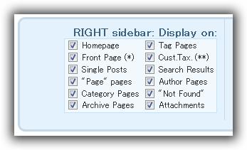 Sidebars & Widgets / Style & configure SIDEBARS / RIGHT sidebar: Display on