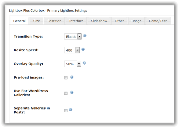 Lightbox Plus Colorbox - Primary Lightbox Settings / General