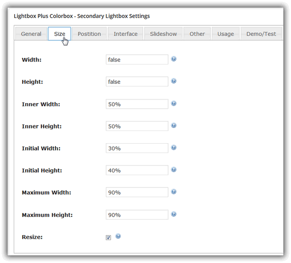 Lightbox Plus Colorbox - Primary Lightbox Settings / Size