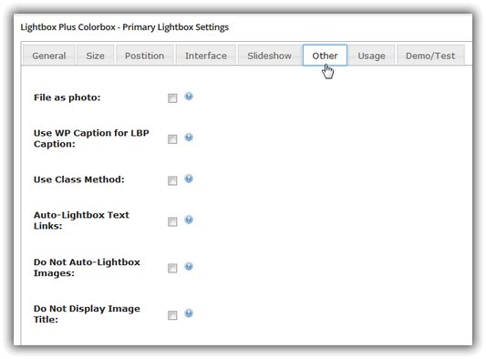 Lightbox Plus Colorbox - Primary Lightbox Settings / Other
