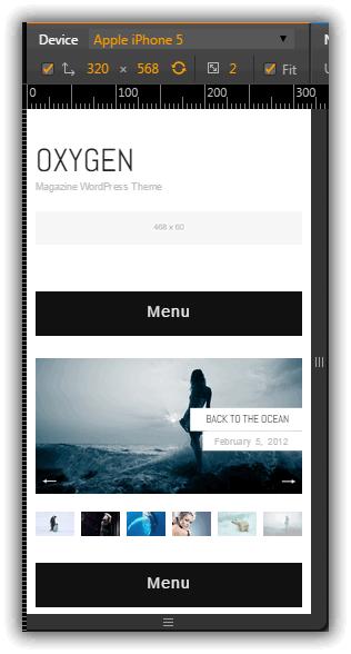 Oxygen をモバイルで表示