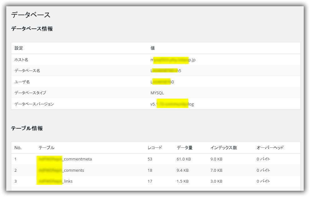 WP-DBManager プラグイン / データベース