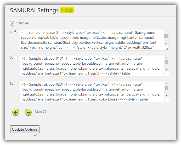 SAMURAI Plugin Setting
